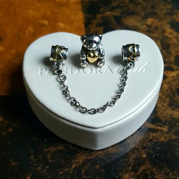 0d2348ad3 Pandora Jewelry | 2 Tones Safety Chain Charms Bear Charm | Poshmark